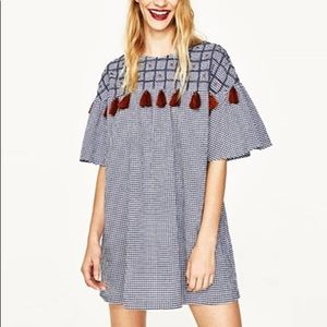 Zara short dress with embroidery and pompom